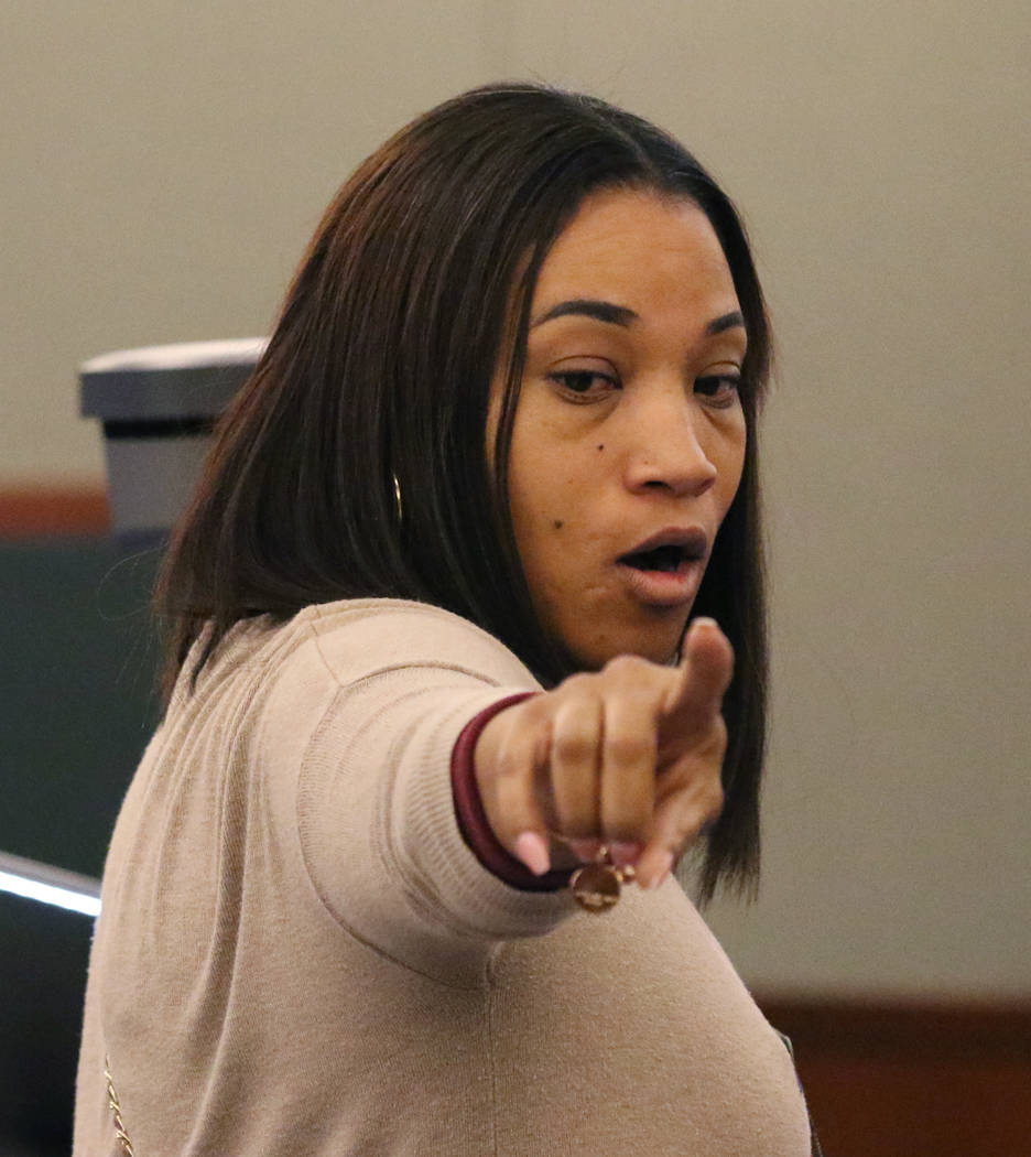 Sharithea Everett, a mother of a fatal crash victims, Robert Roberts, 23, and Jermaine Lovell Asher, 22, delivers her victim impact statement to the court at the Regional Justice Center on Thursda ...