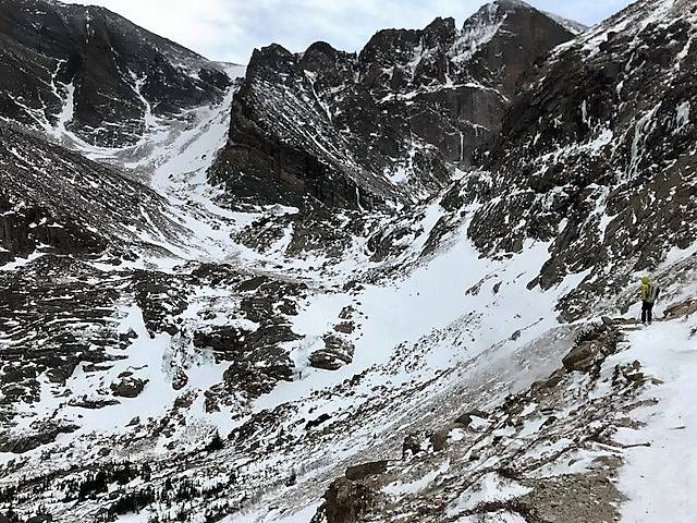 The Chasm Lake Trail in Rocky Mountain National Park, one of the areas search and rescue teams began looking for 20-year-old Micah Tice, on Tuesday, November 27, 2018. (Rocky Mountain National Park)