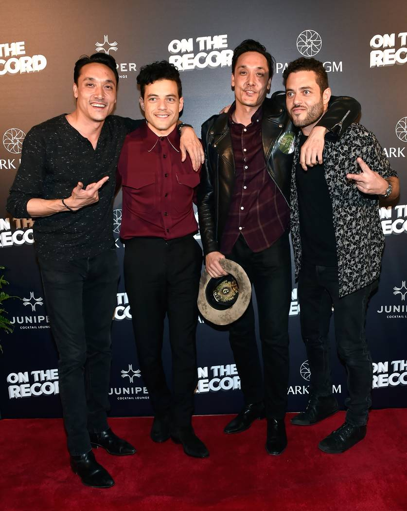 Houston Hospitality's Jonnie Houston, actor Rami Maleko, Houston Hospitality's Mark Houston and Sami Malek attend Queen + Adam Lambert Post-Show VIP reception at Juniper Cocktail Lounge presented ...