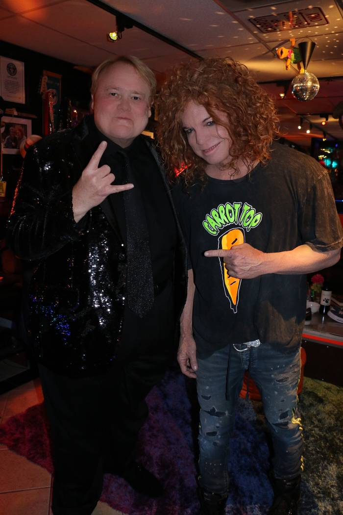 Louie Anderson and Carrot Top are shown in Carrot Top's dressing room after Anderson's introduction of Carrot Top at Luxor on Wednesday, Nov. 28, 2018.