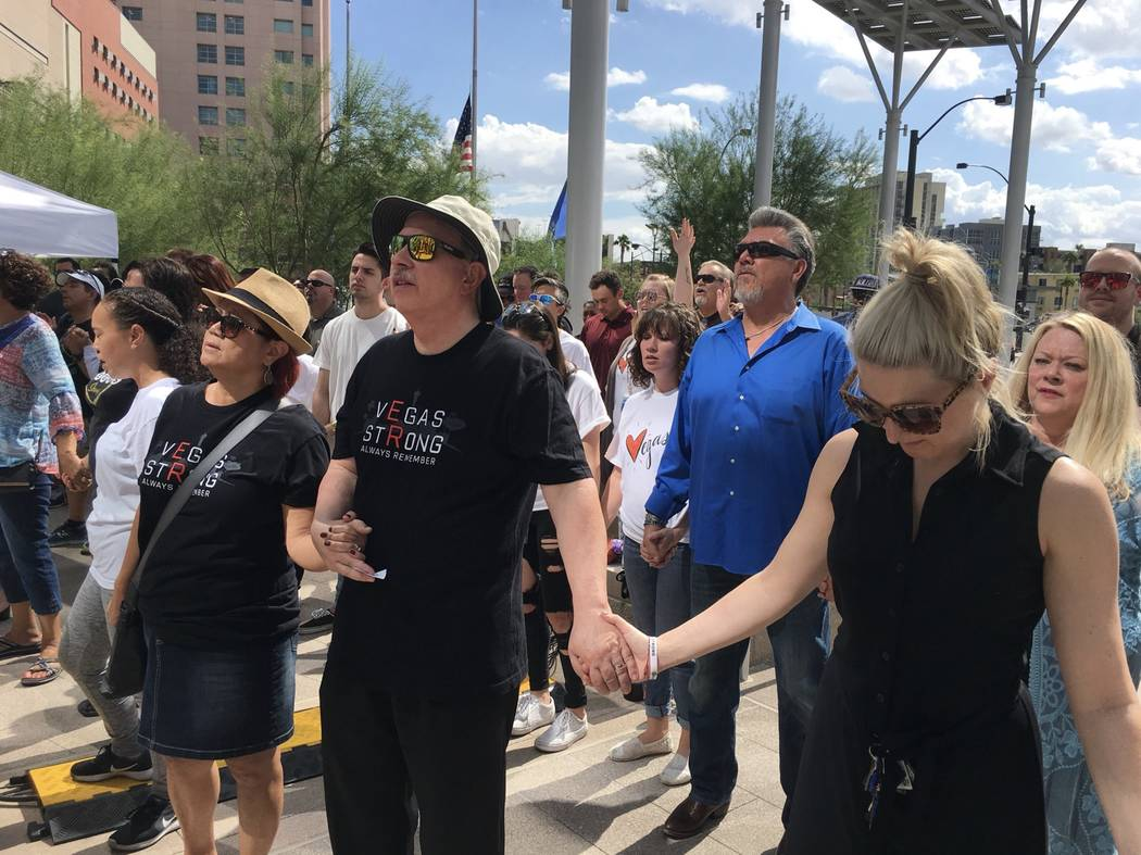 A prayer vigil at Las Vegas City Hall dedicated to those killed in the Route 91 Harvest festival shooting a year ago. (Michael Scott Davidson/ Las Vegas Review-Journal)