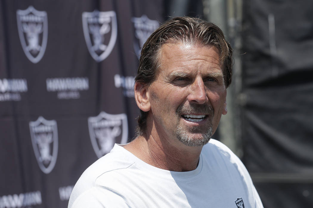 Oakland Raiders offensive coordinator Greg Olson speaks at a news conference after an NFL football practice in Napa, Calif., Saturday, July 28, 2018. (AP Photo/Jeff Chiu)