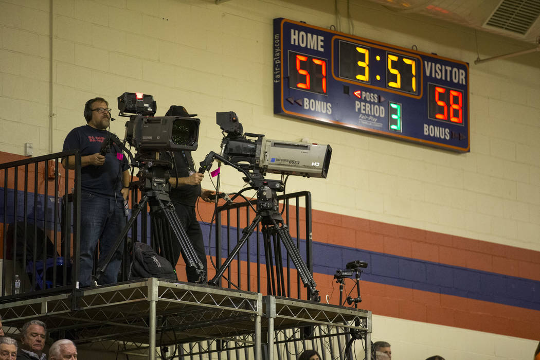 Television cameras film the Coronado and Bishop Gorman varsity basketball game at Bishop Gorman High School in Las Vegas on Thursday, Nov. 29, 2018. Richard Brian Las Vegas Review-Journal @vegasph ...