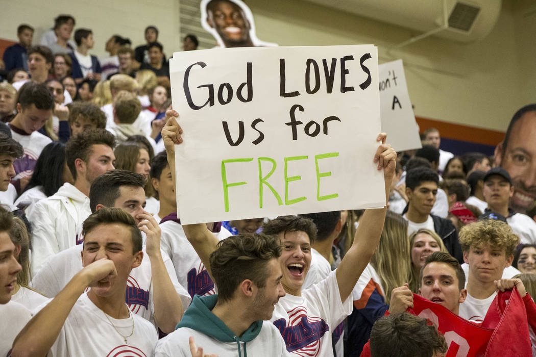 A Coronado fan holds up a sign during the first half of a varsity basketball game at Bishop Gorman High School in Las Vegas on Thursday, Nov. 29, 2018. Richard Brian Las Vegas Review-Journal @vega ...