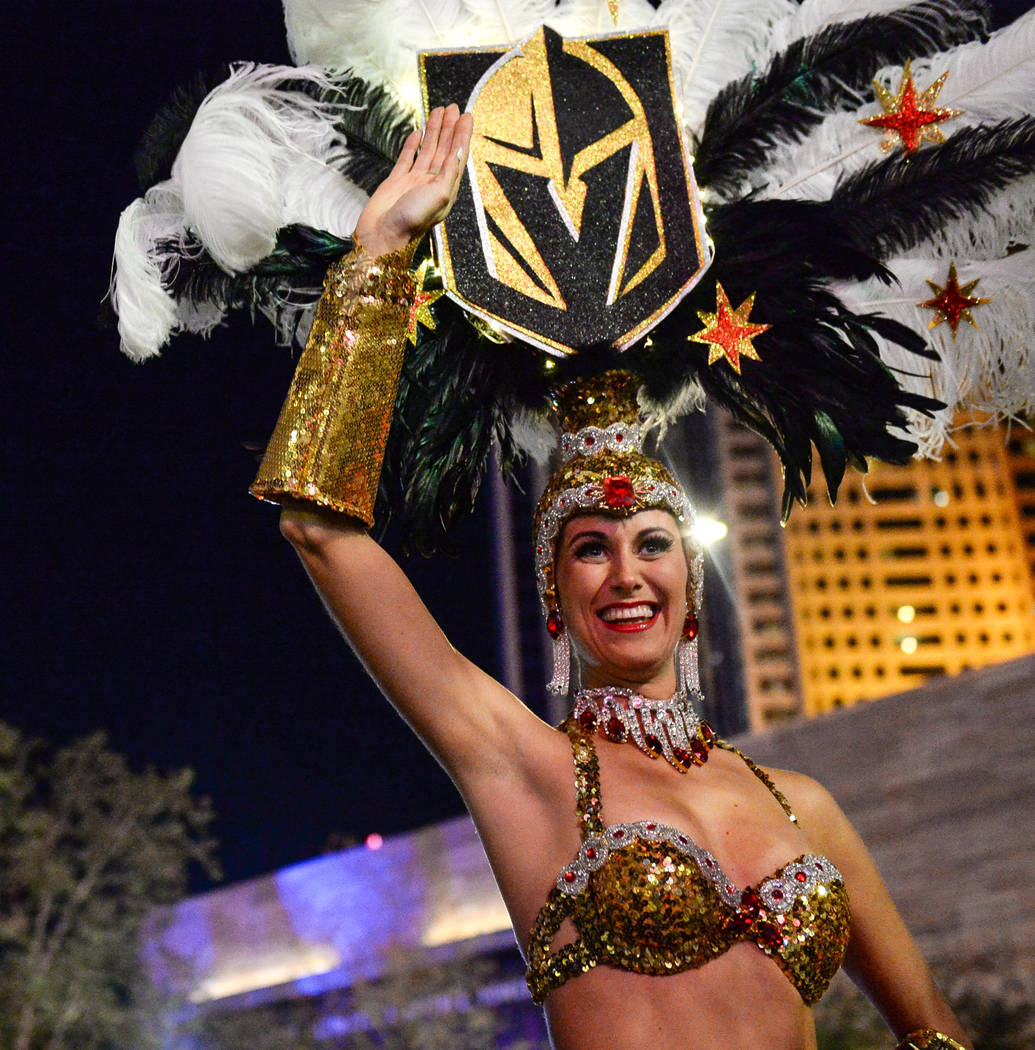 Golden Knights Showgirls greet attendees at a tree-lighting ceremony as a part of The Holiday Experience at The Park in Las Vegas, Thursday, Nov. 29, 2018. Caroline Brehman/Las Vegas Review-Journal