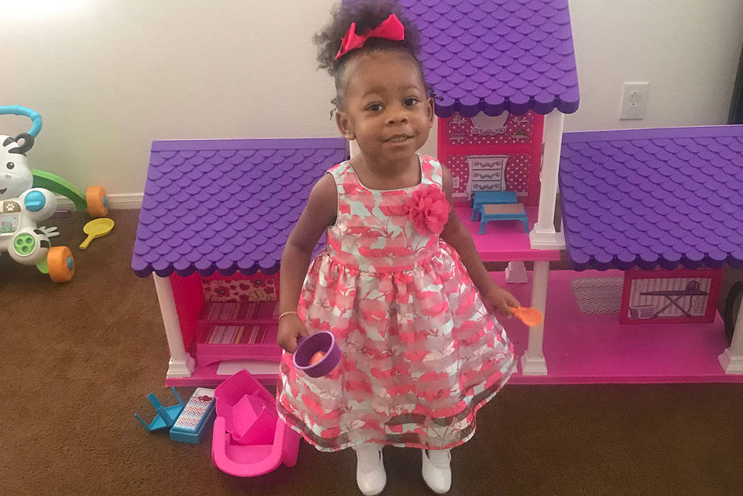 North Las Vegas police are asking for the public's help in in locating 3-year-old Zaela Walker, who was reported missing in August. (North Las Vegas Police Department)
