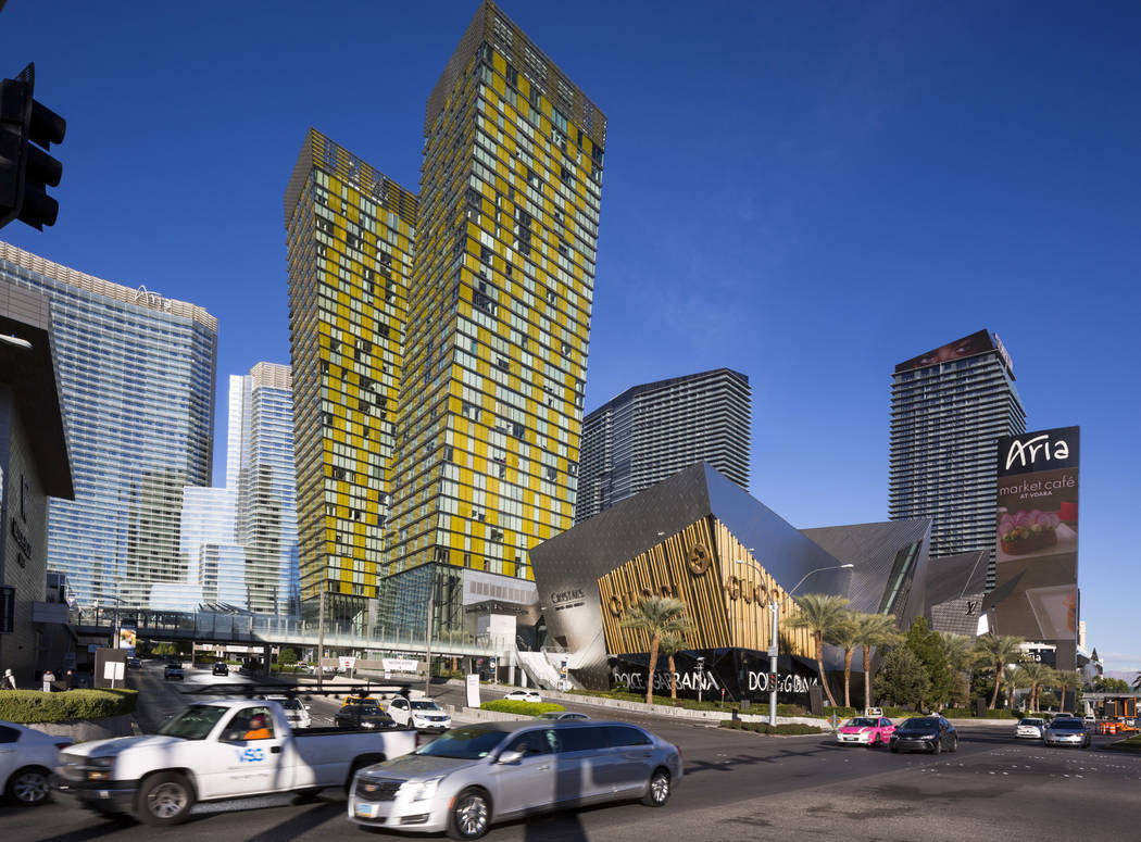 Veer Towers, the yellow, 37-story leaning twin tower condominiums, located within CityCenter on the Strip in Las Vegas on Friday, Nov. 30, 2018. Murphy/Jahn Architects of Chicago designed the towe ...