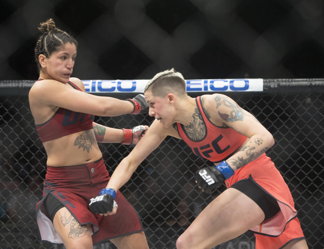 """Macy Chiasson, right, lands a right hook on Pannie Kianzad during the first round of """"The Ultimate Fighter"""" Season 28 Finale on Friday, Nov. 30, 2018, at The Pearl, at Palms, in Las ..."""