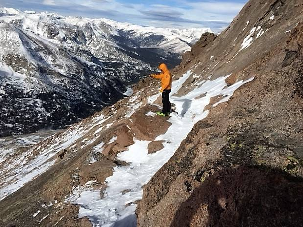 A search team member looking for 20-year-old Micah Tice on a ledge on the Keyhole Route in Rocky Mountain National Park on Tuesday, November 27, 2018. Tice, a cadet candidate from Las Vegas at the ...