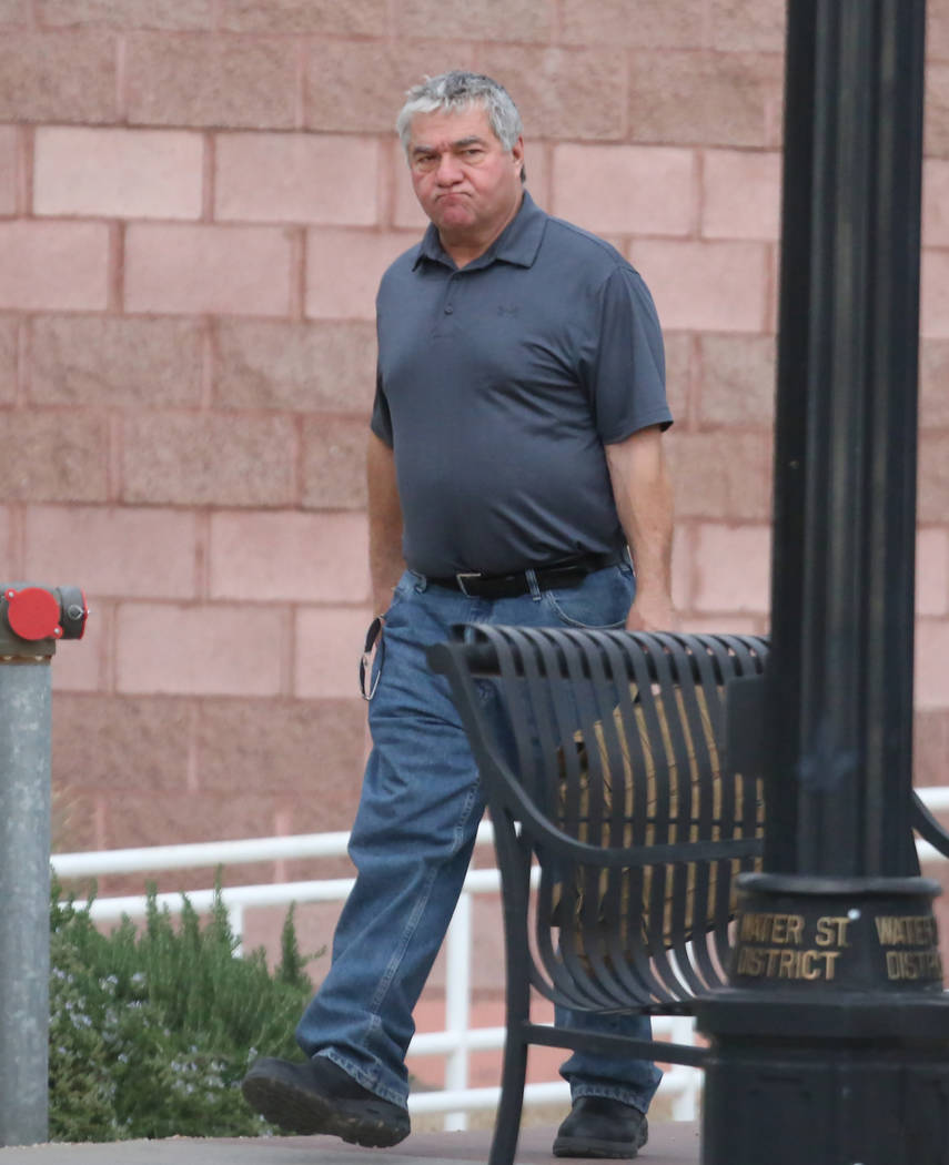 Henderson Township Constable Earl Mitchell leaves the Henderson Justice Court on Wednesday, March 21, 2018. He was indicted on five felony counts related to misuse of county money. Bizuayehu Tesfa ...