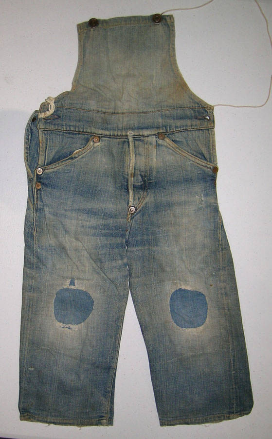 This early 20th century pair of Levis child overalls is one of about 15 pieces of Levis clothing that will be included in the Daniel Buck Auctions' Spring 2019 American Auction. credit: Daniel Bu ...