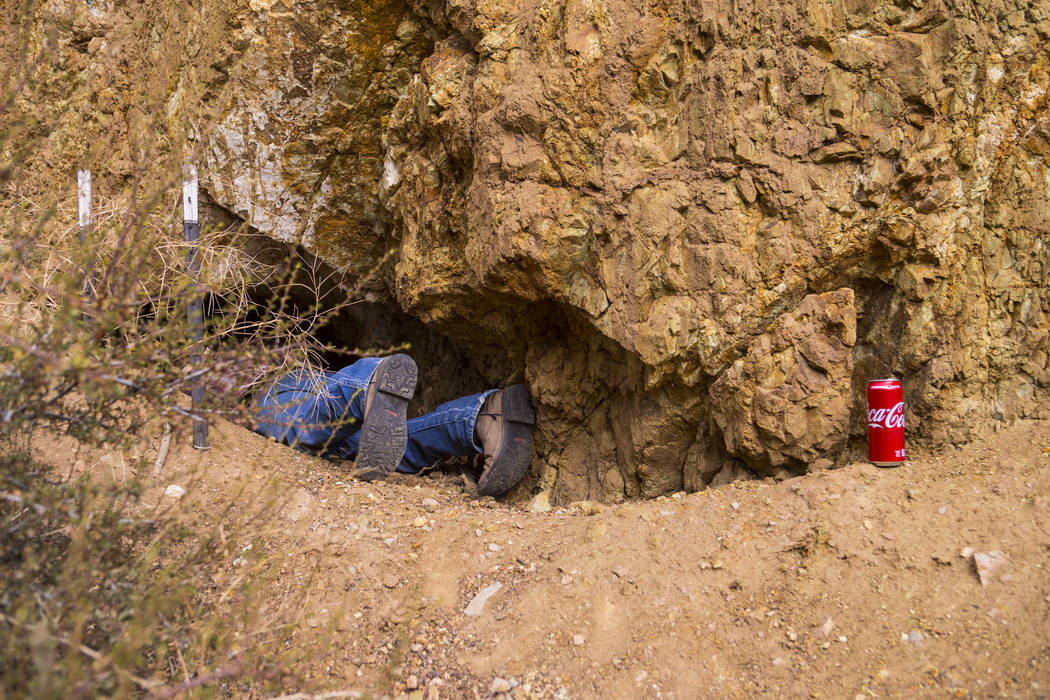 Caden Gould of Genoa enters a mine in search of old denim and other antiquities in south Douglas County on Thursday, Oct. 11, 2018. Mines in the area date as far back as the 1860s and 1870s. Chase ...