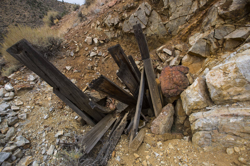 A blocked off portal to an old mine in south Douglas County on Thursday, Oct. 11, 2018. Mines in the area date as far back as the 1860s and 1870s. Chase Stevens Las Vegas Review-Journal @csstevens ...