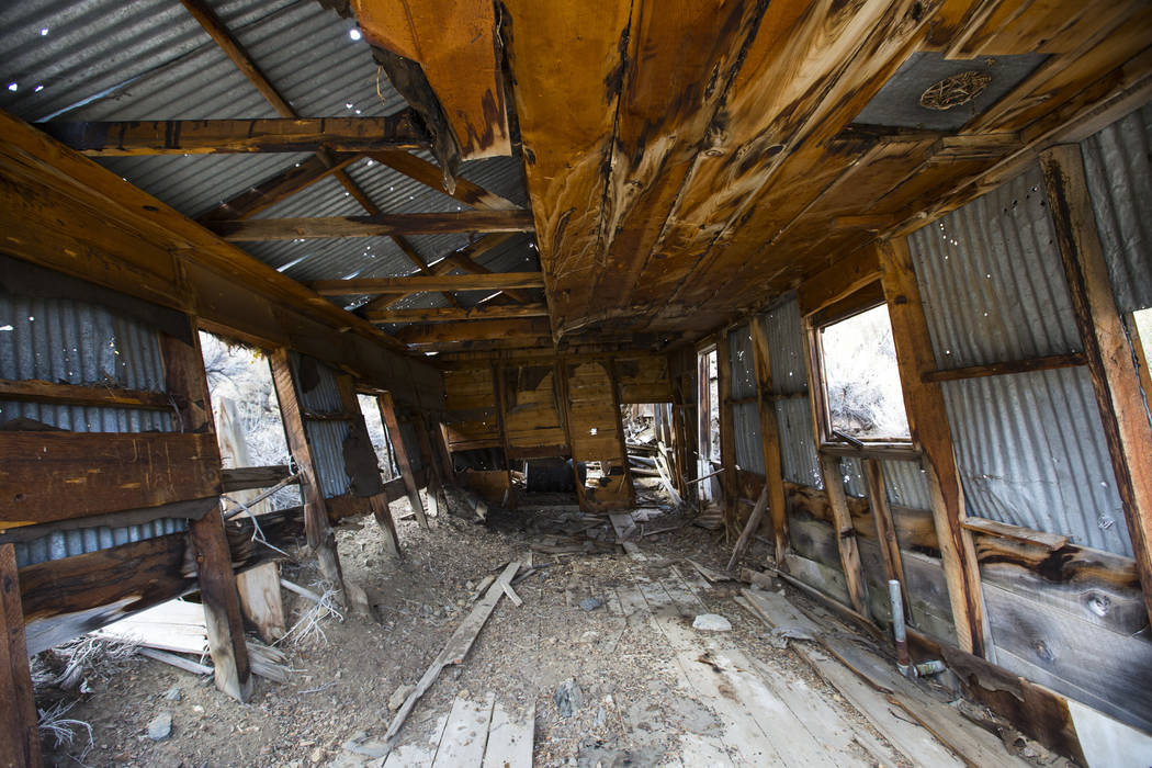 The interior of a deteriorating structure near old mines in south Douglas County on Thursday, Oct. 11, 2018. Mines in the area date as far back as the 1860s and 1870s. Chase Stevens Las Vegas Revi ...