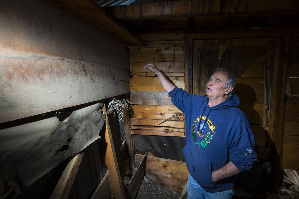 Ron Bommarito of Genoa examines the interior of a deteriorating structure in search of vintage denim and other antiquities near old mines in south Douglas County on Thursday, Oct. 11, 2018. Mines ...