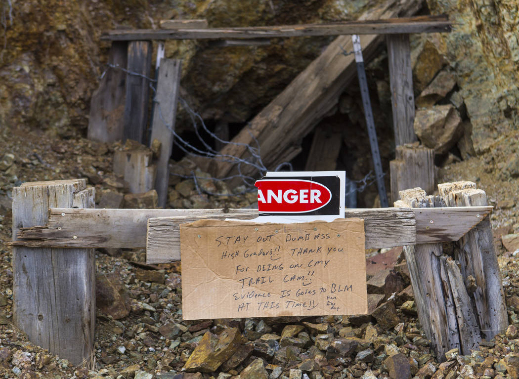 A sign posted outside of a mine in south Douglas County on Thursday, Oct. 11, 2018. Mines in the area date as far back as the 1860s and 1870s. Chase Stevens Las Vegas Review-Journal @csstevensphoto