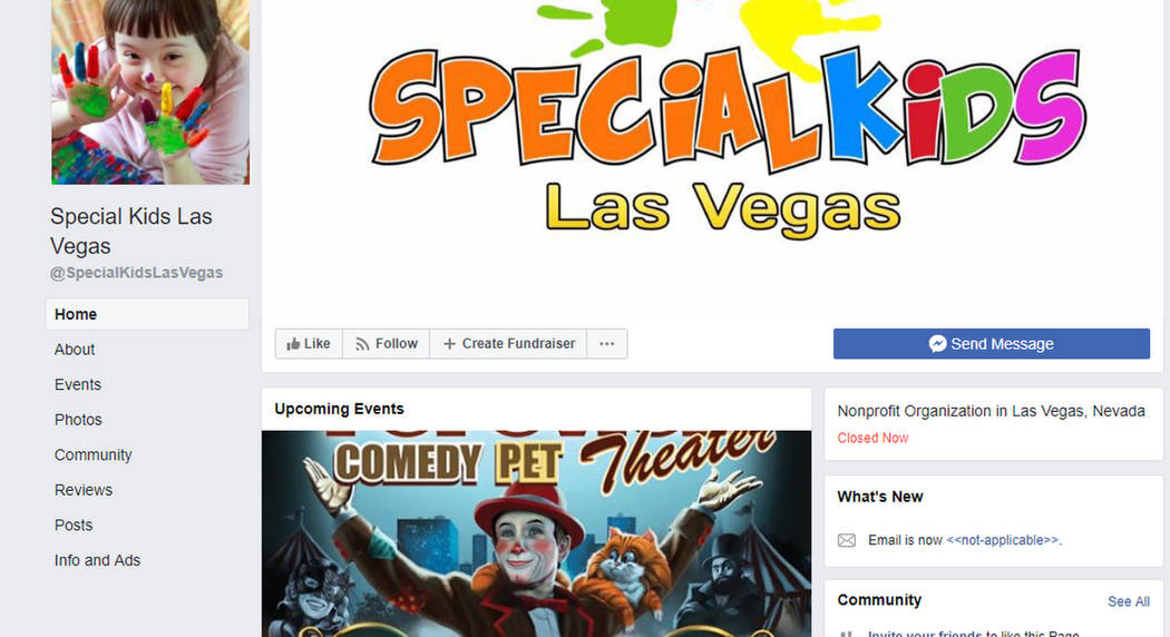 A screenshot of the Special Kids Las Vegas Facebook page, which has since been deleted.