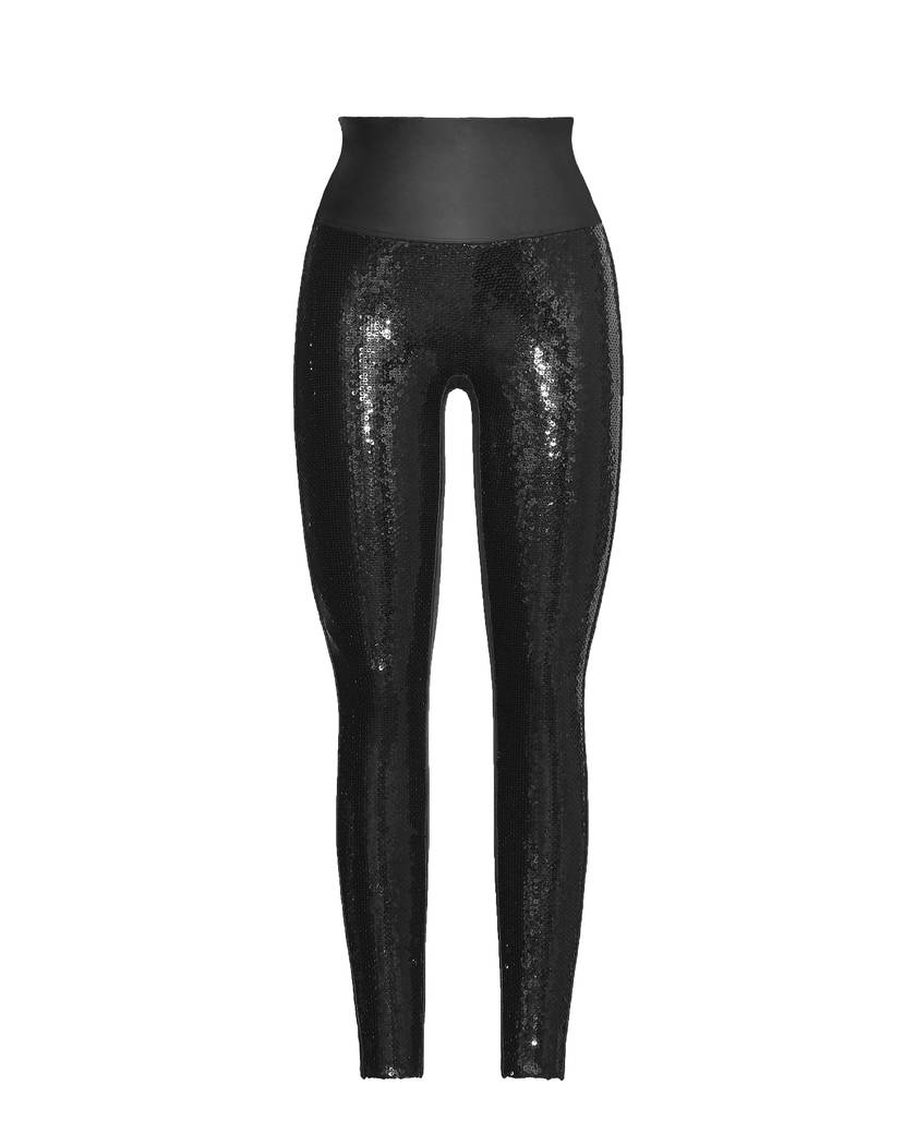 Spanx faux leather leggings in black sequins