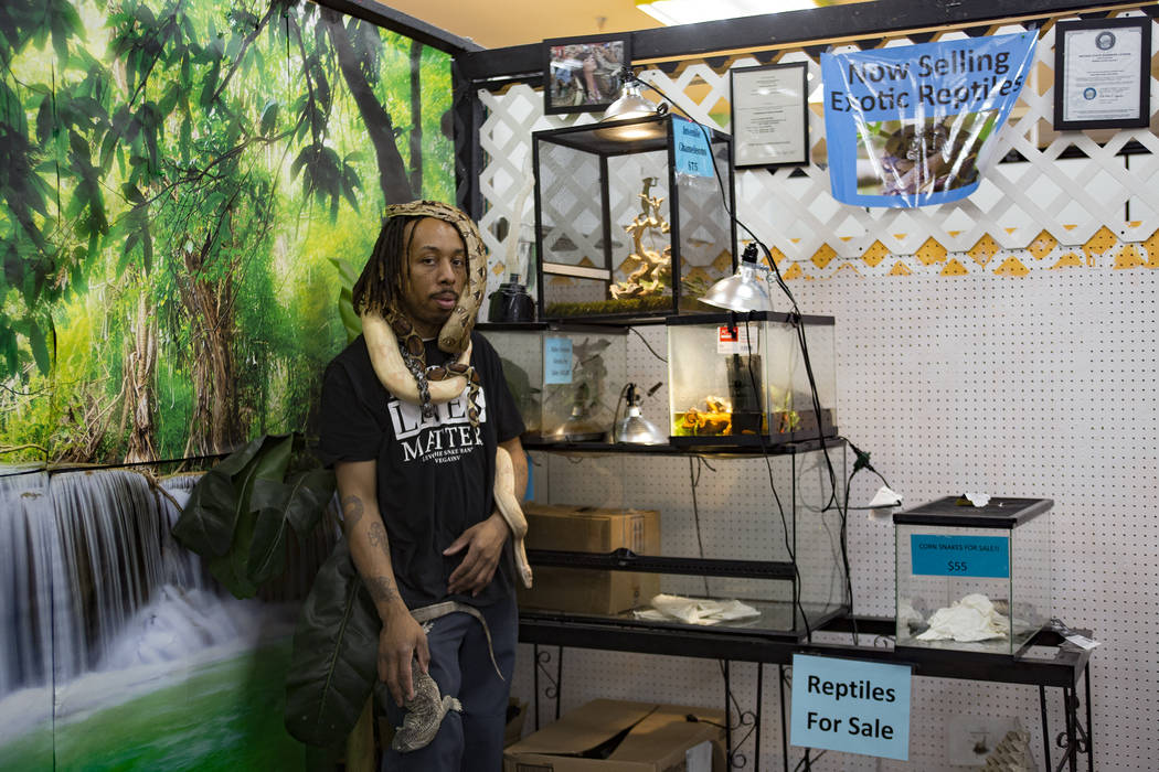 "Levon ""The Snake Man"" Holiday at his booth at the Fantastic Indoor Swap Meet in Las Vegas, Friday, Nov. 2, 2018. Holiday has been obsessed with reptiles since he was a child. He will tal ..."