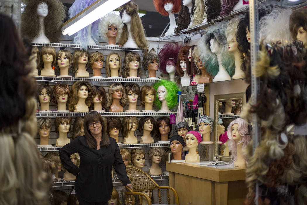 Susan Schneider at her Vegas Girl Wigs booth at Fanastic Indoor Swap Meet in Las Vegas, Friday, Nov. 16, 2018. She started with two booths in 1992 and has grown to a dozen booths with thousands of ...