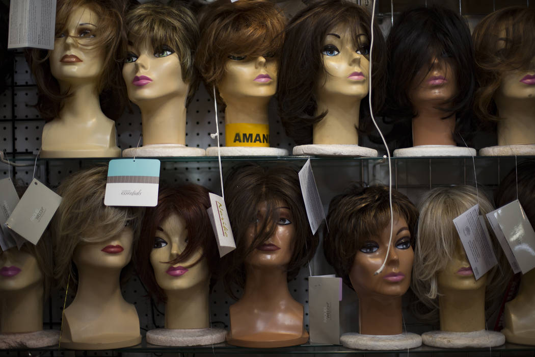 Wigs for sale at the Vegas Girl Wigs booth at Fanastic Indoor Swap Meet in Las Vegas, Friday, Nov. 16, 2018. Rachel Aston Las Vegas Review-Journal @rookie__rae