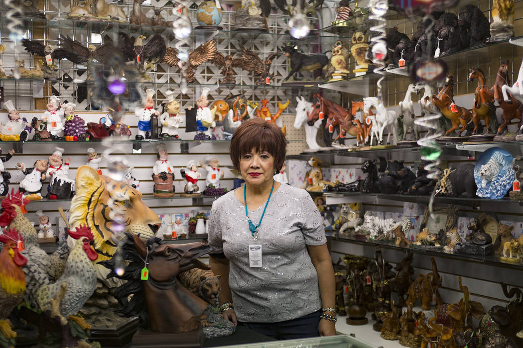 Adella Torchy at her booth at the Fantastic Indoor Swap Meet in Las Vegas, Friday, Nov. 9, 2018. She and her husband owned a successful jewelry store in San Francisco and retired to Las Vegas&#x46 ...