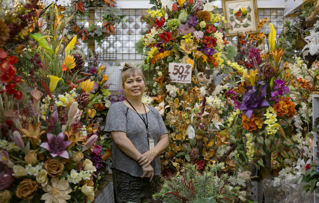 Marietta Shahadlaus at her booth at Fantastic Indoor Swap Meet in Las Vegas, Friday, Nov. 9, 2018. Shahadlaus graduated in the Philippines with a degree in fine arts. She loves floral arrangements ...