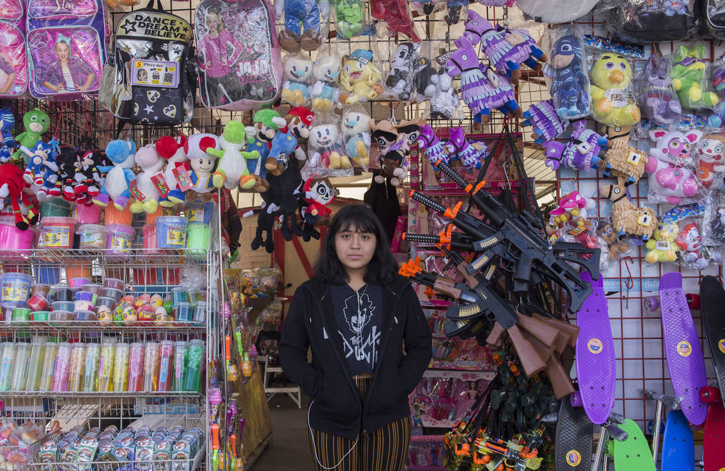 Yamilett Perez stands at the Amado's Corp. booth at Broadacres Marketplace in North Las Vegas, Saturday, Dec. 1, 2018. Perez is the daughter of the owner and has been working the booth since she w ...