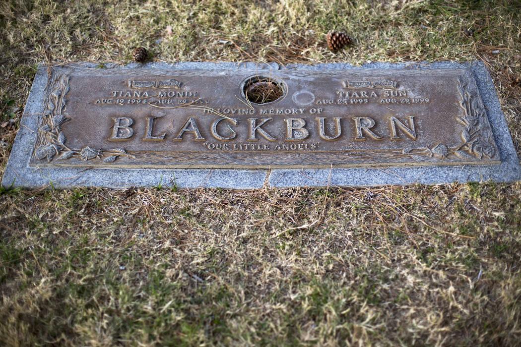 The shared grave of sisters Tiana Blackburn, 5, and Tiara Blackburn, 4, at Eden Vale Memorial Park in Las Vegas on Sunday, Dec. 9, 2018. Rachel Aston Las Vegas Review-Journal @rookie__rae