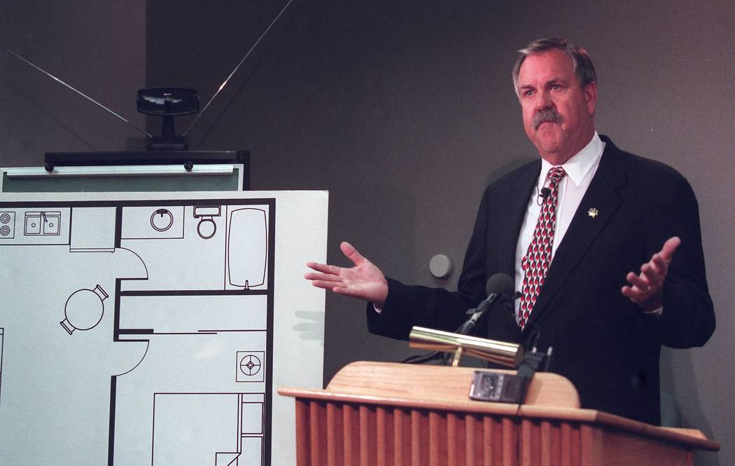 Clark County Sheriff Jerry Keller during a news conference on Aug. 30, 1999, regarding the death of Timothy Blackburn. (Las Vegas Review-Journal file)