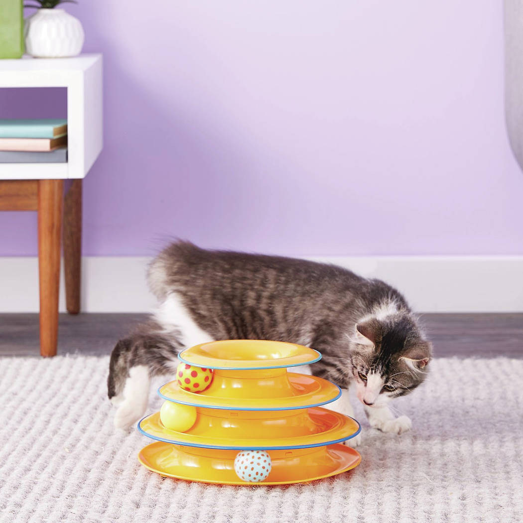 The Petstages Tower of Tracks Cat Toy has three levels, each a track with its own ball, for play by multiple felines or one who's extremely busy. Chewy