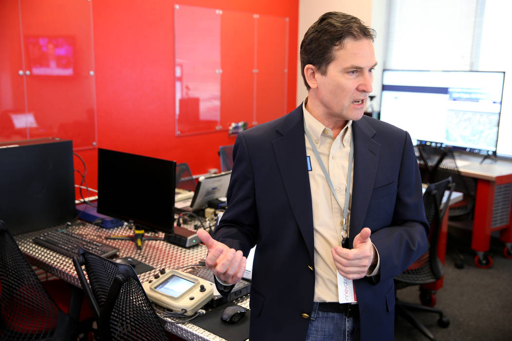 Dr. Chris Walach, senior director of Nevada Institute for Autonomous Systems, talks to a reporter at NIAS's newNevada Drone Center of Excellence for Public Safety, located inside the Switch ...