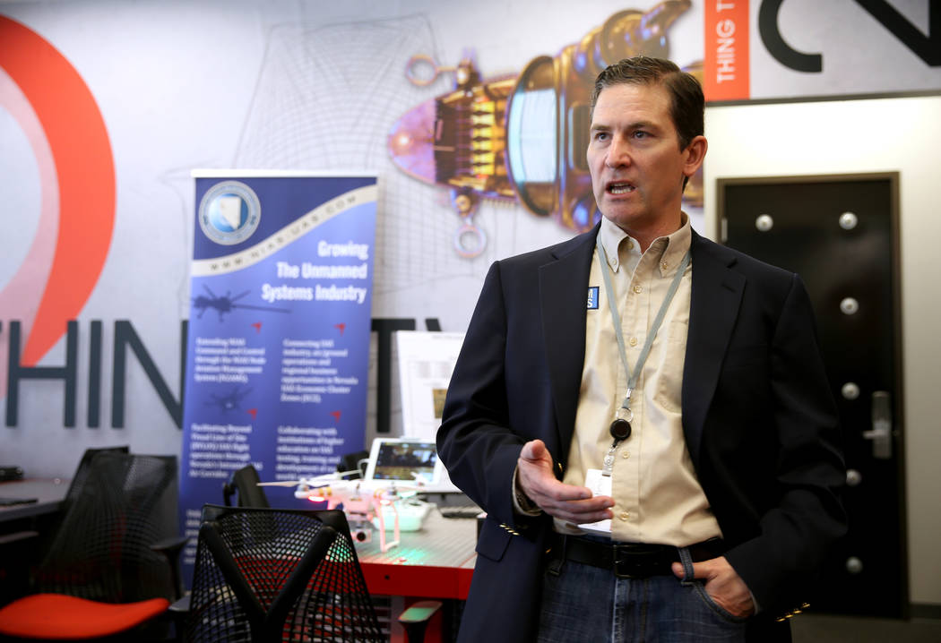 Dr. Chris Walach, senior director of Nevada Institute for Autonomous Systems, talks to a reporter at NIAS's new Nevada Drone Center of Excellence for Public Safety, located inside the Switch ...