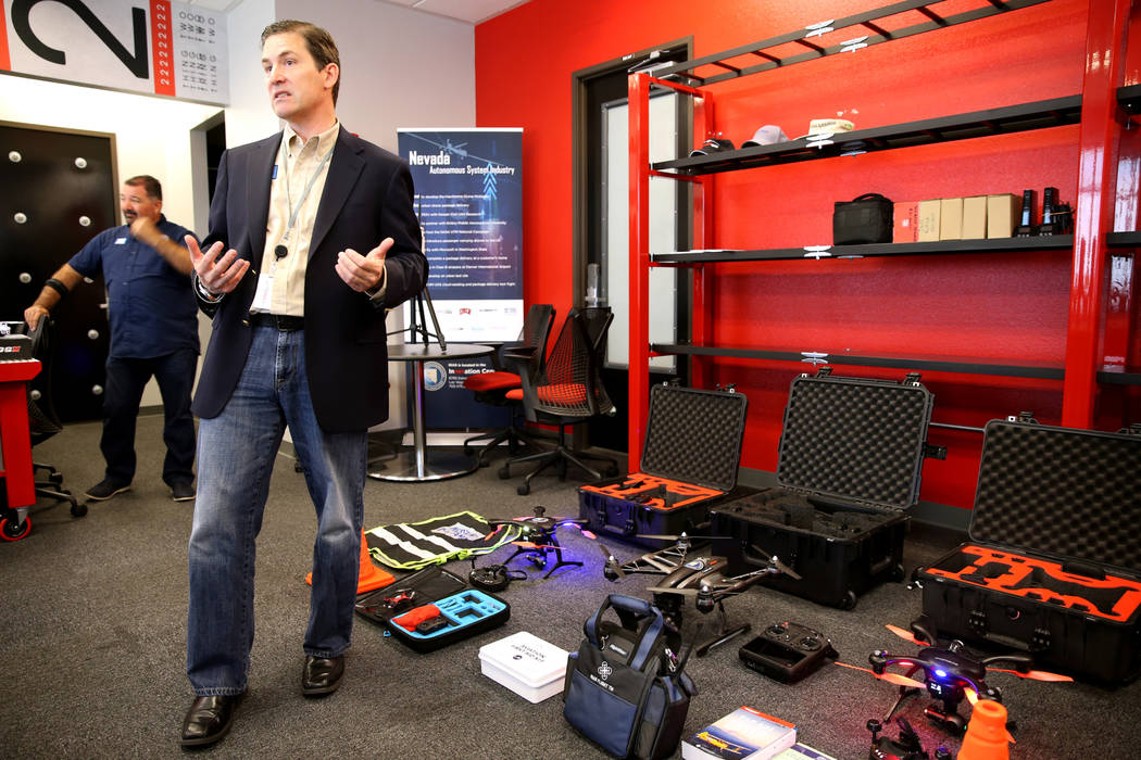 Dr. Chris Walach, senior director of Nevada Institute for Autonomous Systems, shows a variety of drones at NIAS's new Nevada Drone Center of Excellence for Public Safety, located inside the S ...
