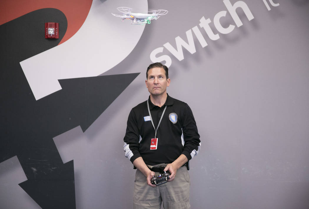 Chris Walach, Director of the FAA-designated Nevada UAS Test Site & Senior Director for The Nevada Institute for Autonomous Systems (NIAS), flies a drone during a drone class at the The Inneva ...