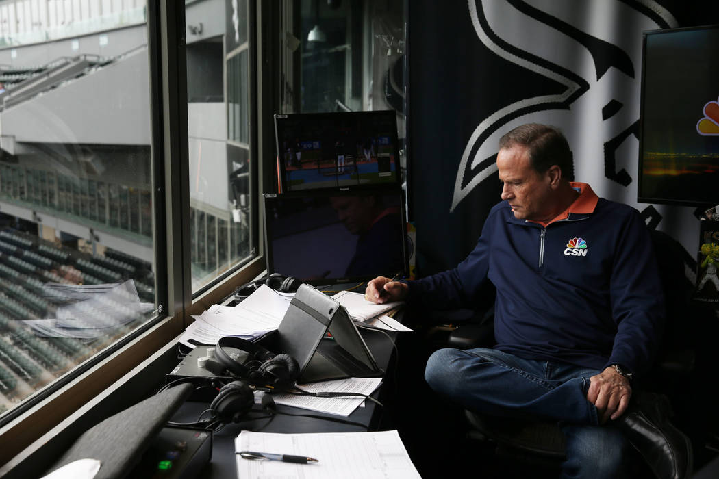 Chicago White Sox broadcaster Steve Stone writes notes in preparation for a game at Guaranteed Rate Field Friday, July 14, 2017, in Chicago. (John J. Kim/Chicago Tribune)