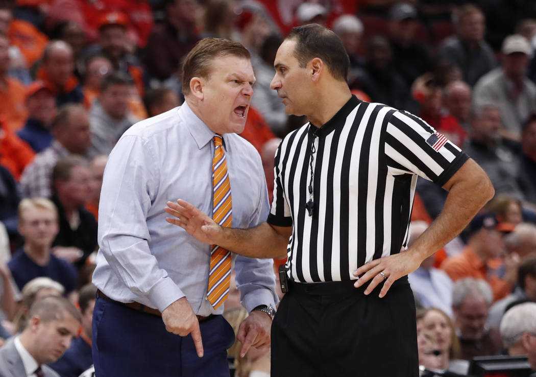 Illinois head coach Brad Underwood reacts to a call by the official during the second half of an NCAA college basketball game against Ohio State Wednesday, Dec. 5, 2018, in Chicago. The Buckeyes w ...
