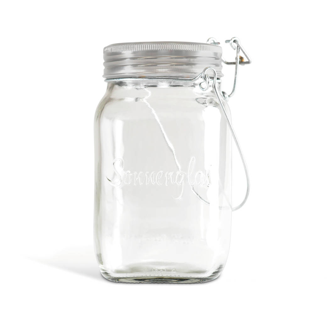 The jar is made from recycled glass and stores solar energy during the day and releases up to 12 hours of soft bright light at night. ©sonnenglas.net.