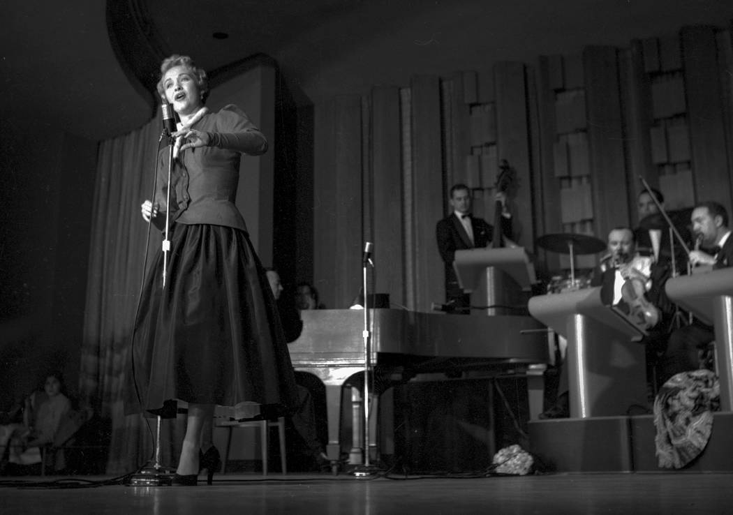Jane Powell during the Danny Thomas show for the opening of the Sands Hotel, 12/17/52. By the second night of his two-week run, Thomas, overwhelmed by all the press coverage and unaccustomed to su ...
