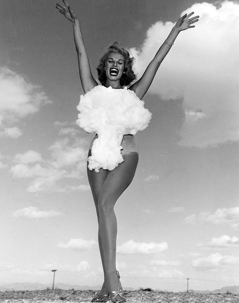 """On May 24th, 1957 the Las Vegas News Bureau released the last and most famous """"Miss Atomic Bomb"""" photo of all to conicide with Operation Plumbbob at the Nevada Test Site. Donald English took the f ..."""
