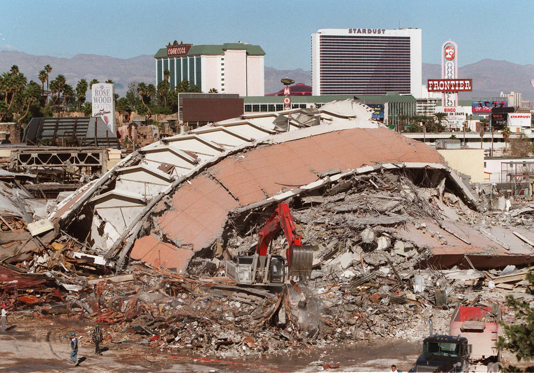 The rubble of the Sands Tuesday morning following the implosion on November 26. 1996. (Jim Laurie)