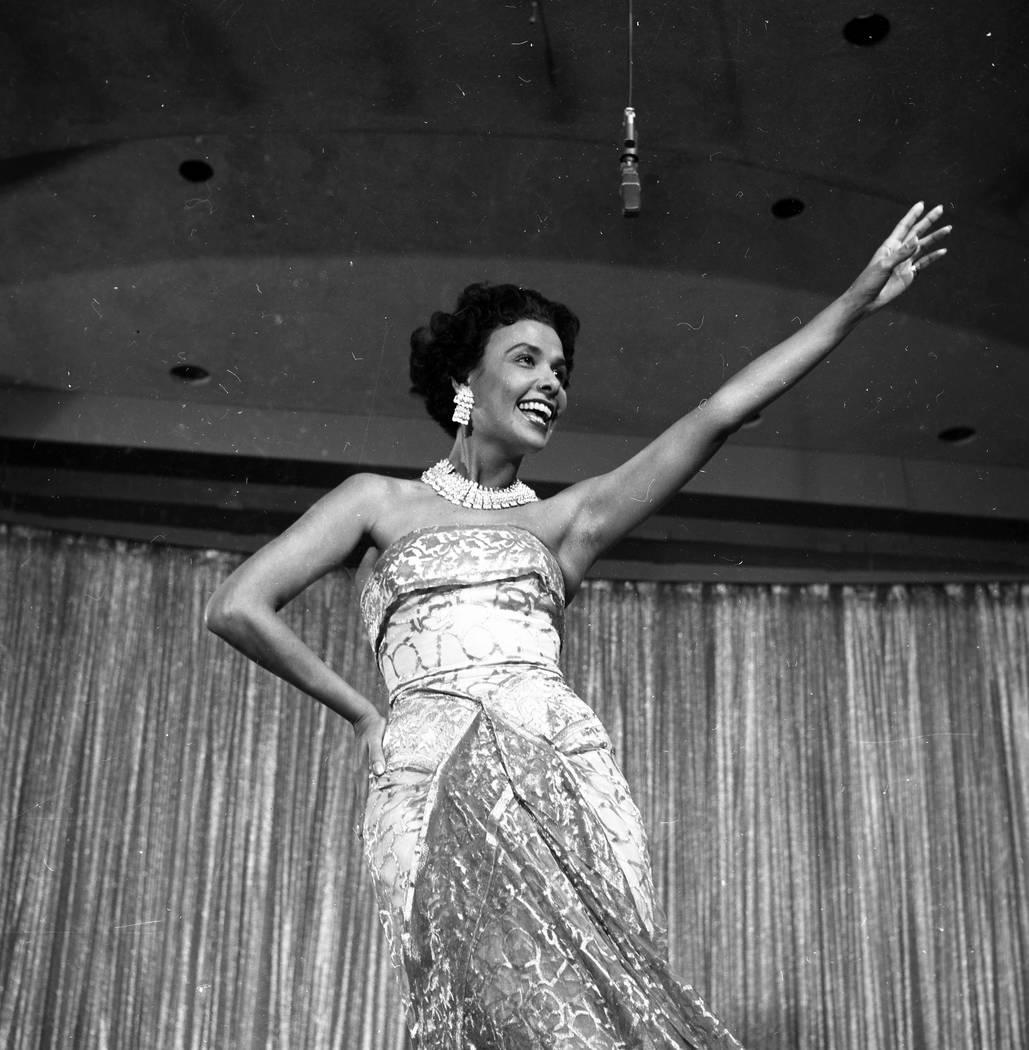 Lena Horne performs at the Sands hotel-casino in Las Vegas in June 1955. (FILE/Las Vegas News Bureau)