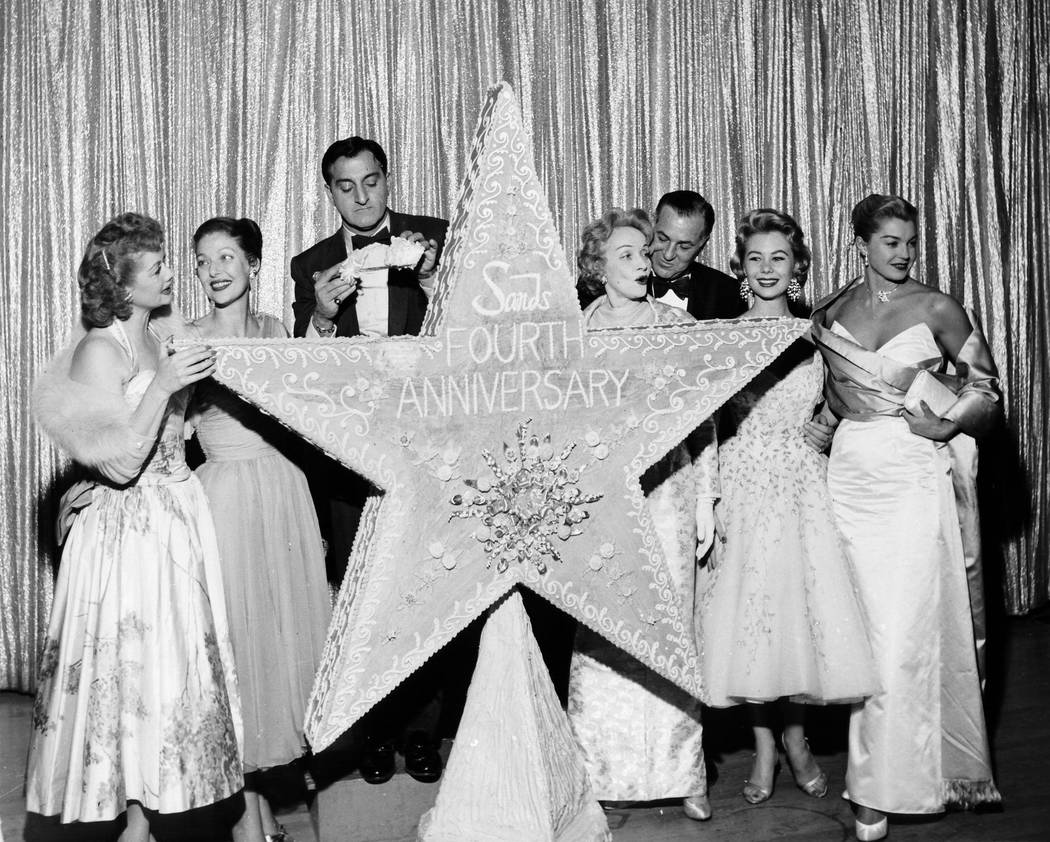 The Sands Hotel celebrates its 4th birthday on December 15, 1956. Left to right: Lucille Ball, Loretta Young, Danny Thomas, Marlena Dietrick, Jack Entratter, Mitzie Gaynor, Ester Williams.