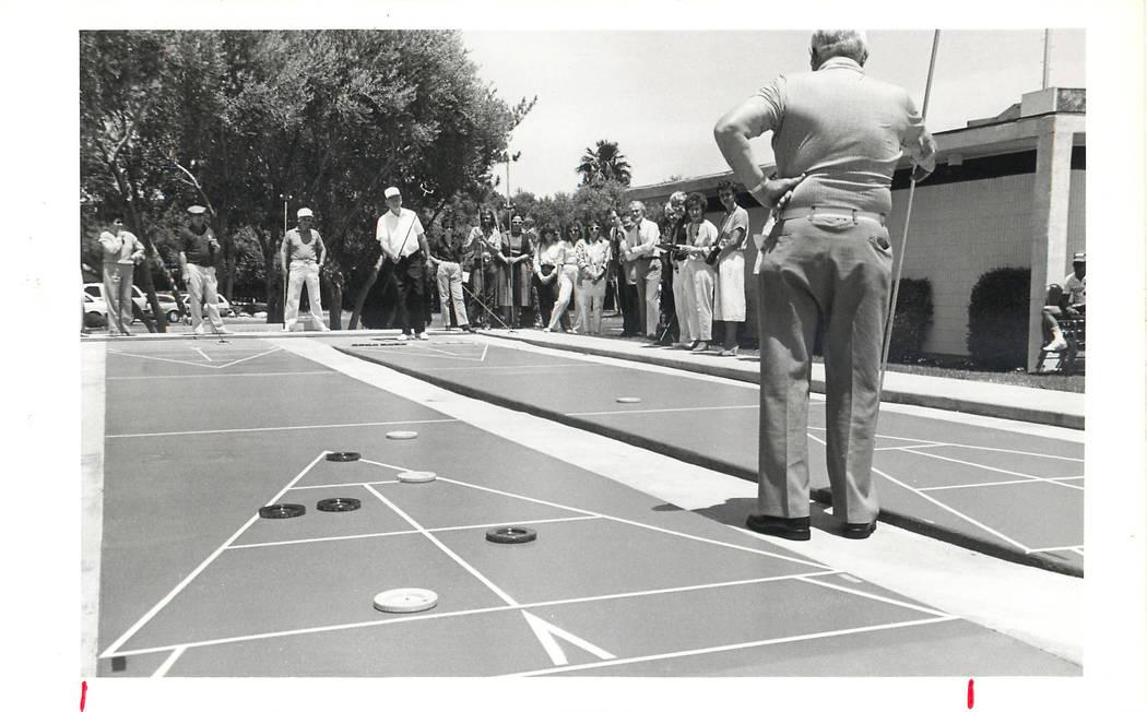Shuffleboard Tournament, June 1986, at the Sands. (File Photo/Las Vegas News Bureau)
