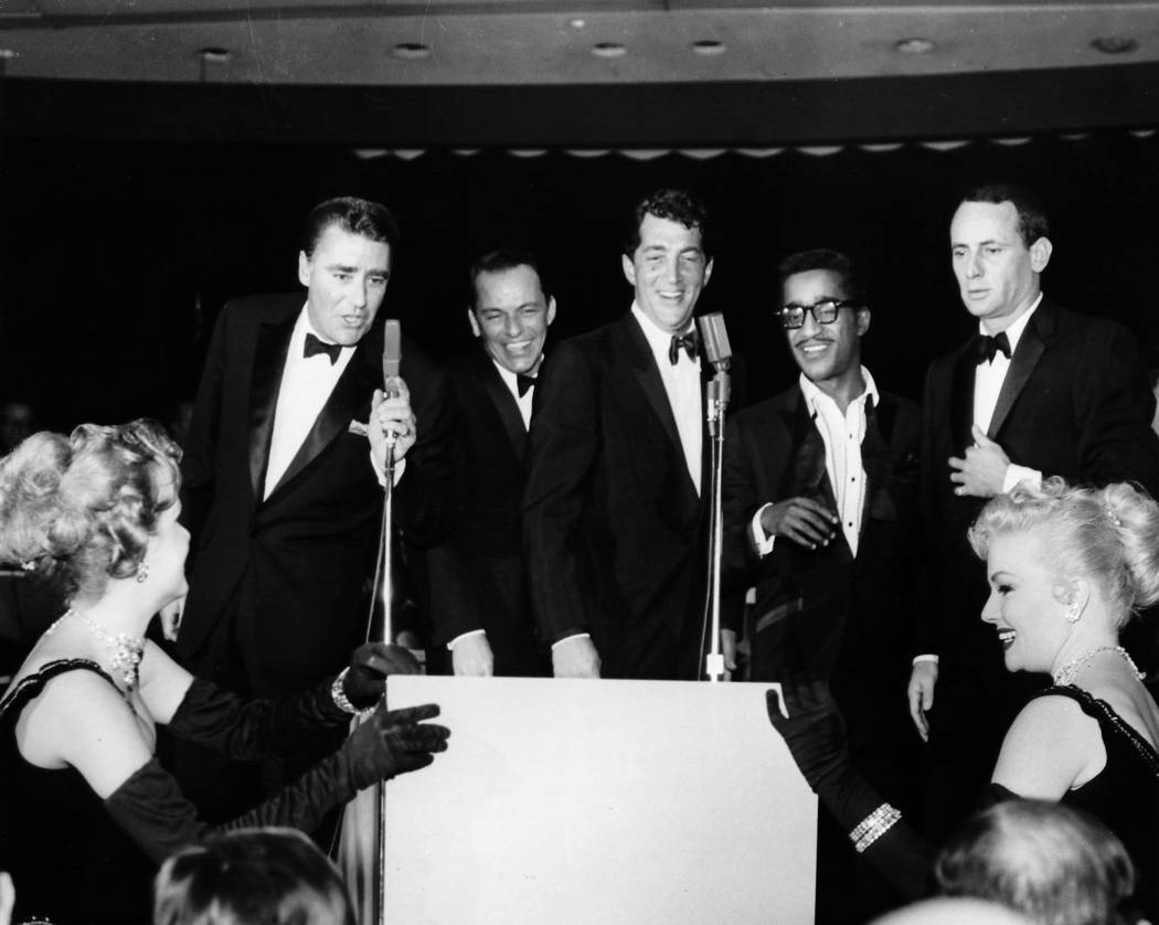 The Rat Pack, from left are Peter Lawford, Frank Sinatra, Dean Martin, Sammy Davis Jr., and Joey Bishop at the Sands Hotel on Jan 20, 1960. (Las Vegas News Bureau)