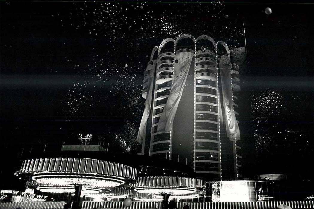 Fireworks in celebration of the grand opening of new tower at the Sands Hotel and Casino. (File Photo/Las Vegas Review-Journal)
