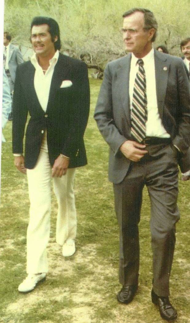 Wayne Newton and George H.W. Bush, shown here in the late 1980s at Casa de Shenandoah, were friends dating to Bush's days as vice president to President Ronald Reagan. (Wayne Newton)