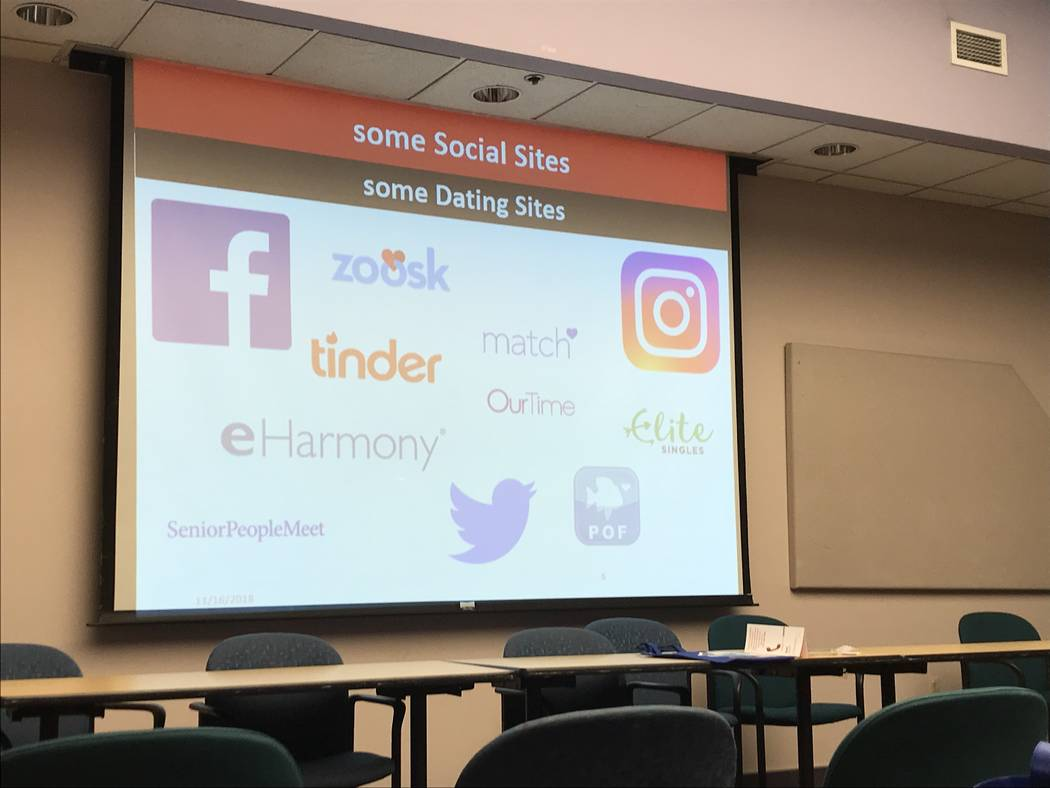 Part of the AARP presentation showing the audience various online social media sites and dating sites. Rachel Spacek Las Vegas Review-Journal