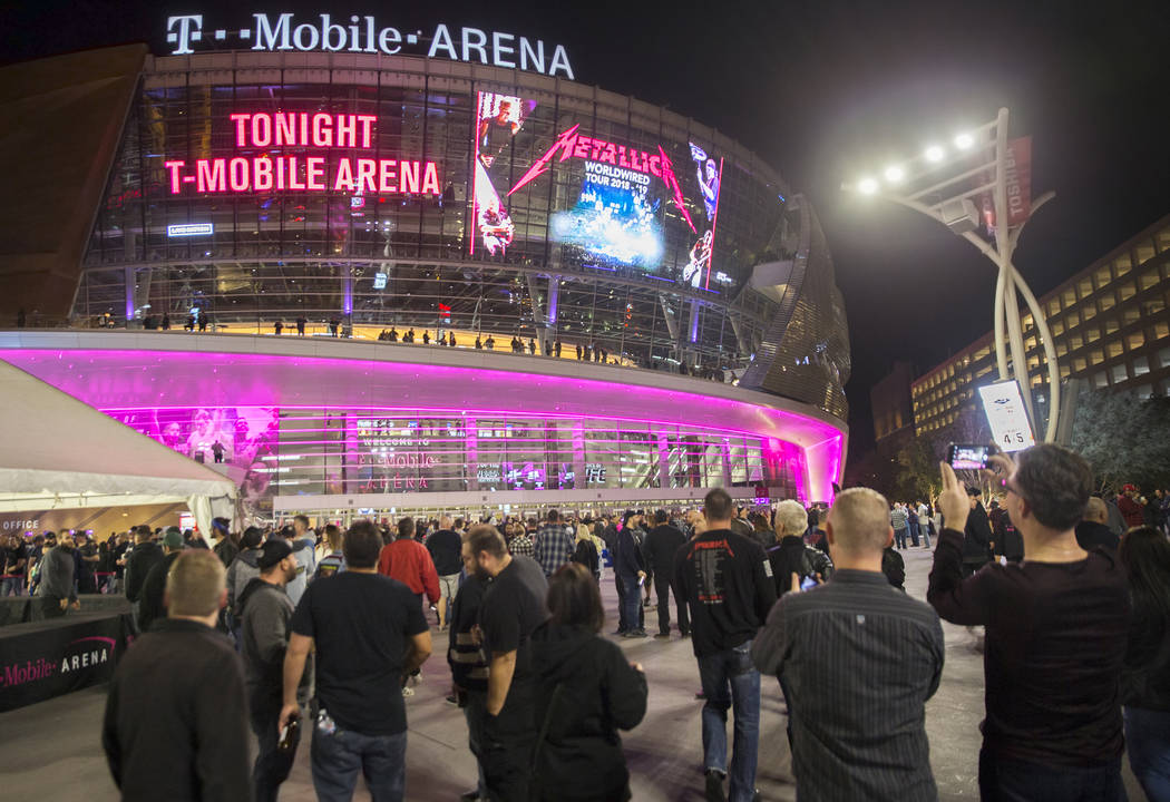 Concert goers line up outside T-Mobile Arena before the start of the Metallica show outside on Monday, Nov. 26, 2018, in Las Vegas. Benjamin Hager Las Vegas Review-Journal