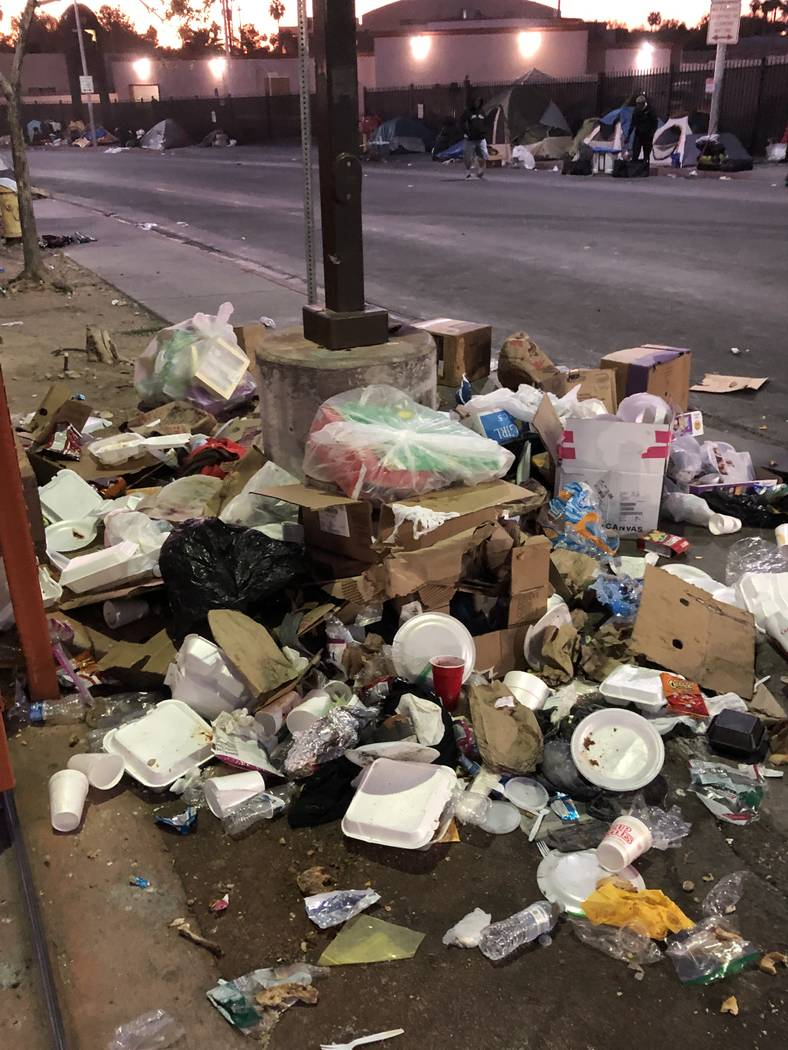 The trash accumulated on Foremaster Lane over Thanksgiving weekend is seen. Photo courtesy of the city of Las Vegas. .